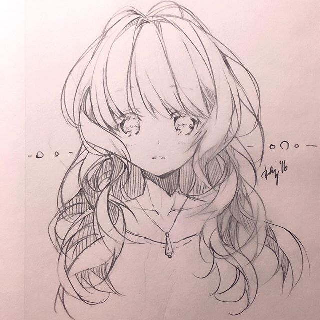 ✮ anime art ✮ girl coat scarf earmuffs cold blushing long hair twin tails moe drawing doodle pencil