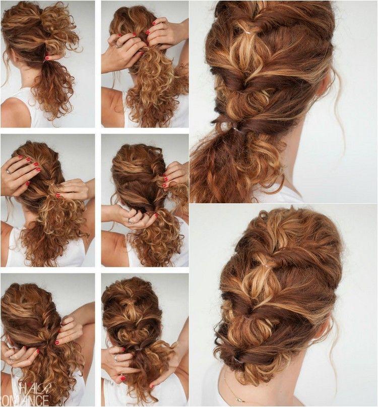 Interessante Frisur Für Lockiges Haar Mit Pferdeschwanz Oder Dutt Hair
