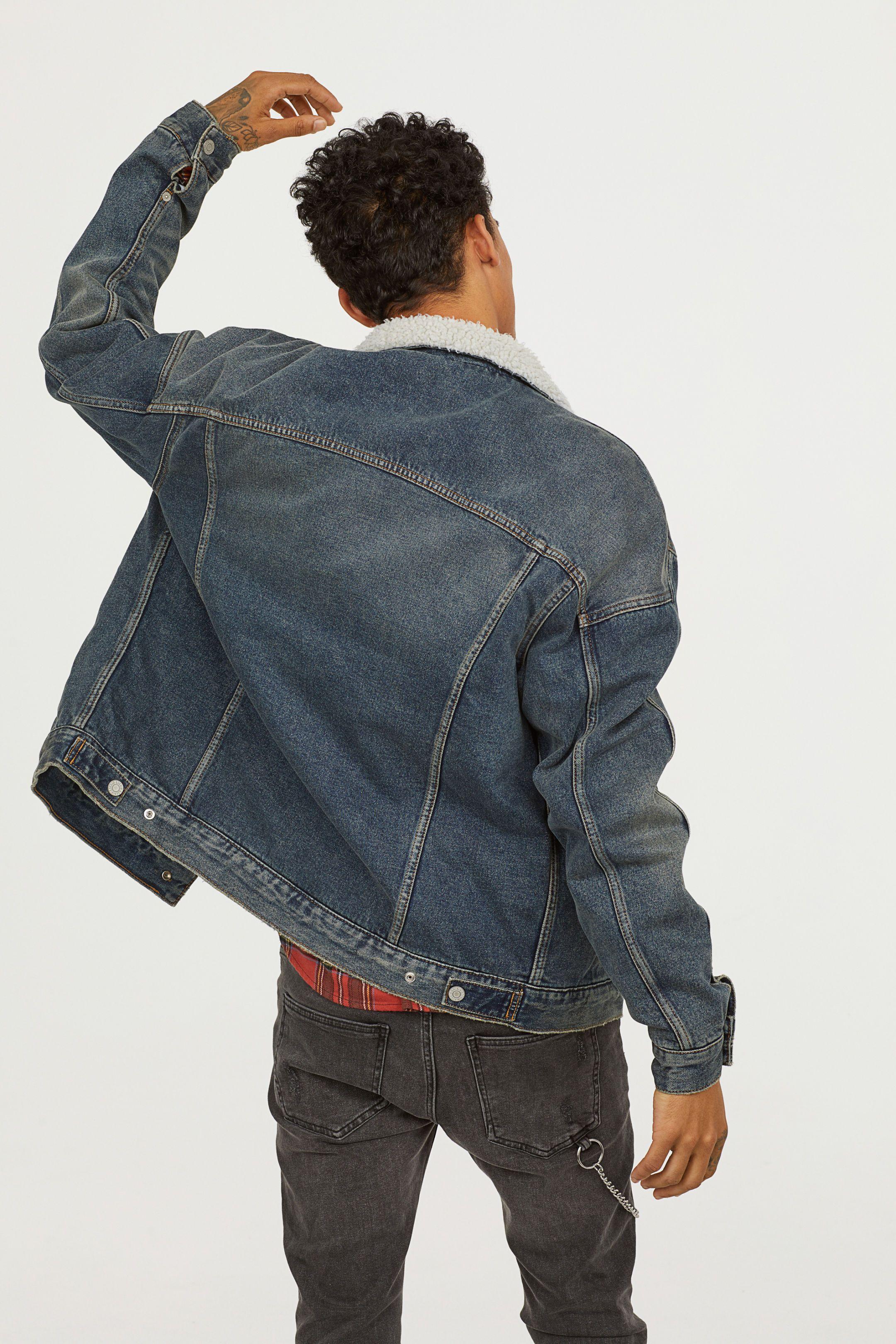993ddf82a3539 H M Pile-lined Denim Jacket - Blue