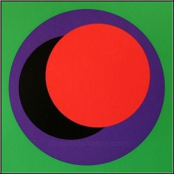 Geneviève Claisse: Serigraph with Purple, Black & Red Circles on Green