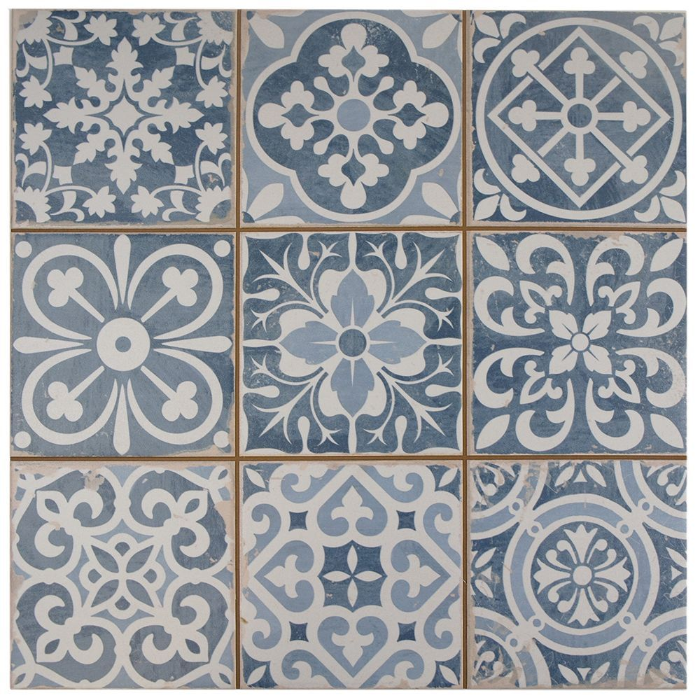 It Is Easy To Picture Sun Drenched Streets Of Spain When Looking At The Merola Tile Faenza Azul 13 Inch X 13 Inch Wall Tiles Ceramic Floor Floor And Wall Tile