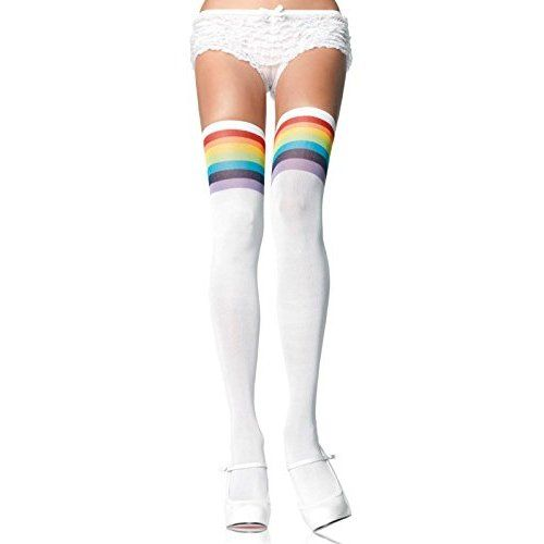 Be Wicked Womens Rainbow Knee Highs with Rainbow Toes