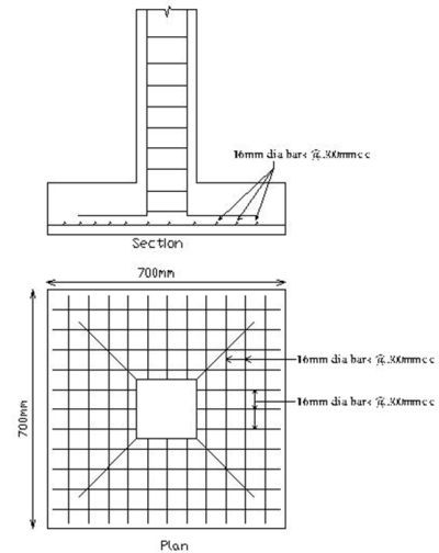 Column footing plan and section foundation design adi for Footing size for 2 story house