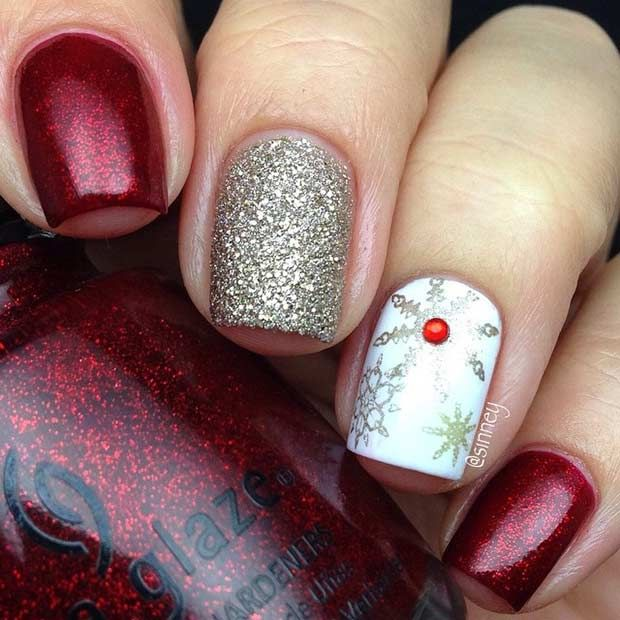Elegant Christmas / Winter Nails | uñas | Pinterest | Manicuras, Uña ...