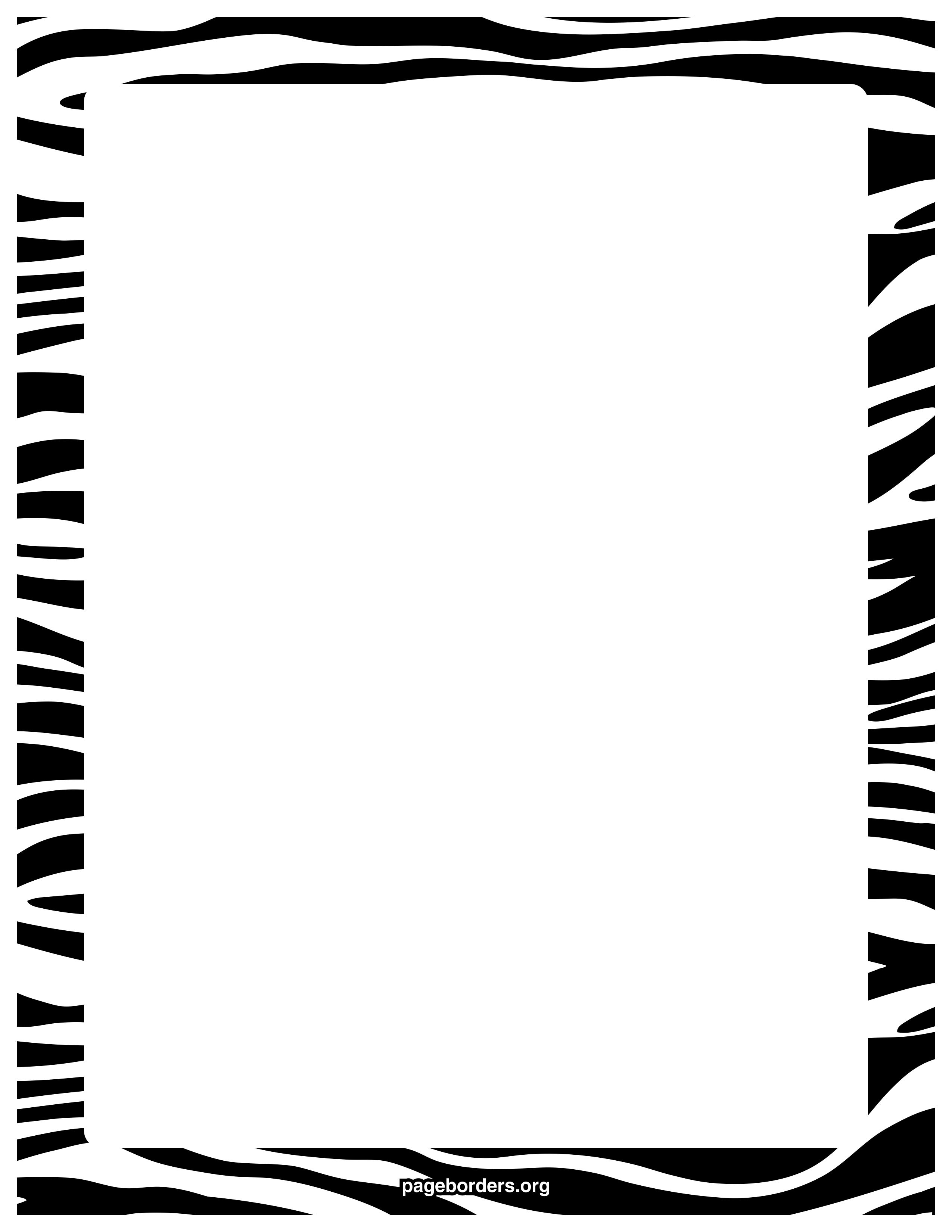 Zebra print border watermarkedg 25503300 pixels crafts free zebra print border templates including printable border paper and clip art versions voltagebd