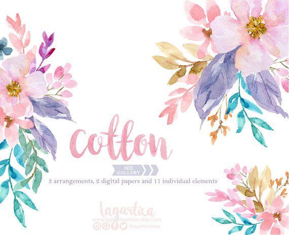Floral Clipart Watercolor, Flowers PNG, Wedding, Bouquet