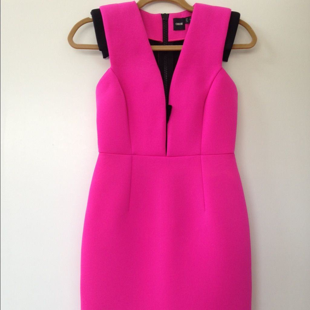 Asos Highlighter Pink Scuba Bodycon Party Dress.4 | Products | Pinterest