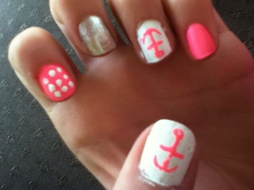 cute and easy nail designs anchor pink - Nail Design Ideas Easy