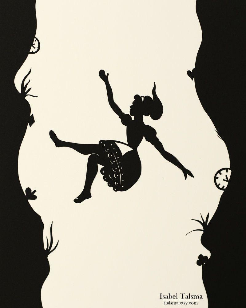 Alice in Silhouette Falling Down the Rabbit
