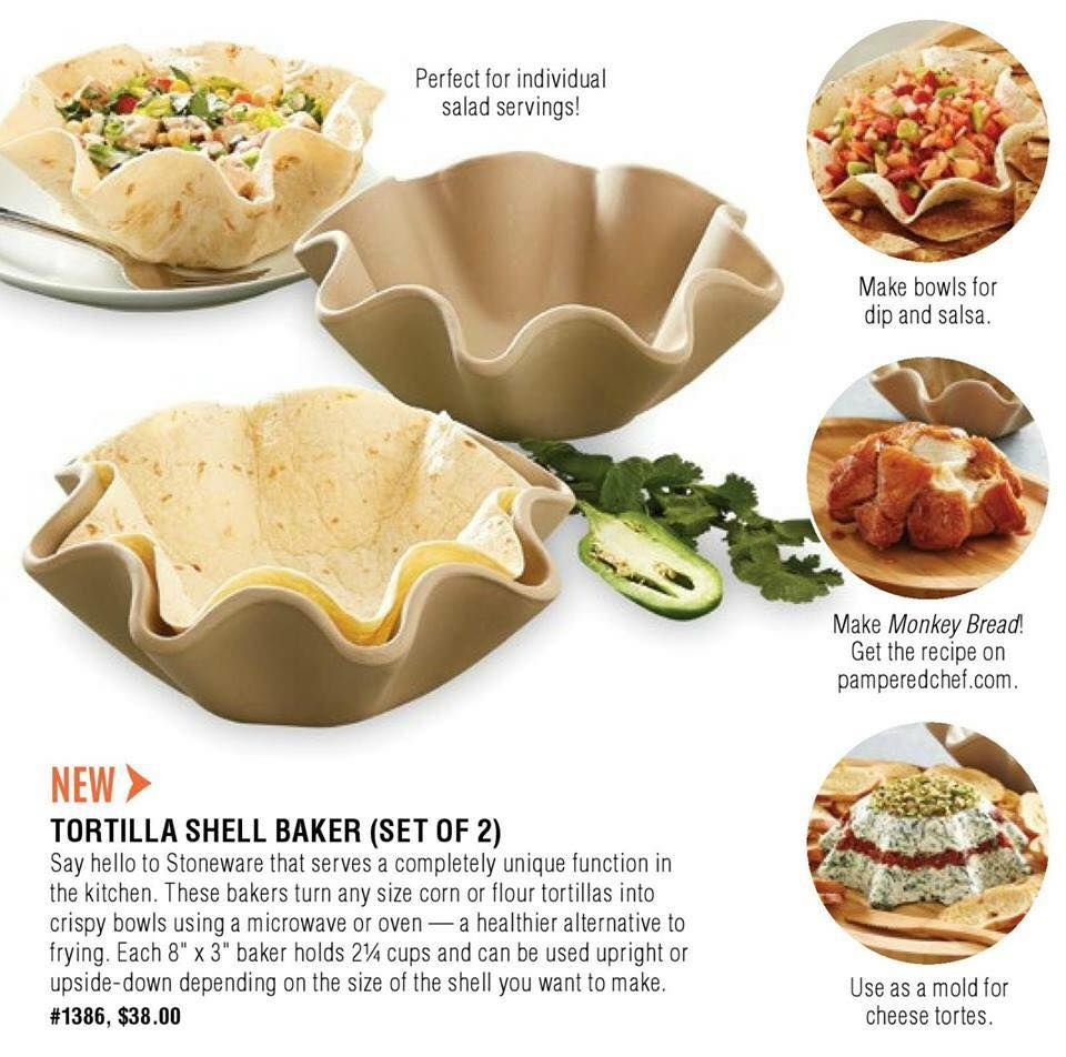 The Pampered Chef Tortilla Shell Baker Set New Set of 2 Specialty ...