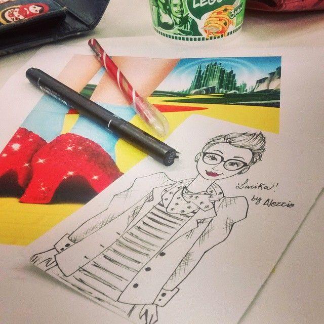 """Tentando desenhar a @laribeatrizb ... #friendship #fashiondesign #hipstergirl #modaehfoda #illustration #drawing #portrait #nanquin #draw #artwork"""