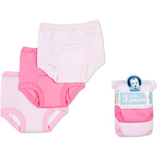 Training Pants for Toddlers | Gerber - Baby Girls' Cotton Training Pants, 3-Pack
