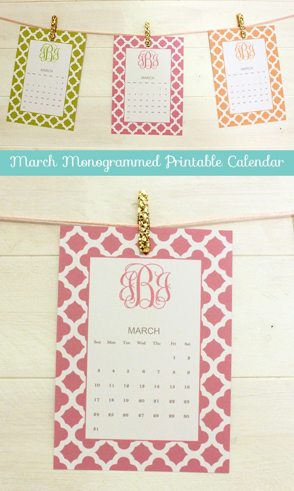 March Monogrammed Printable Calendar by ForChicSake - click to