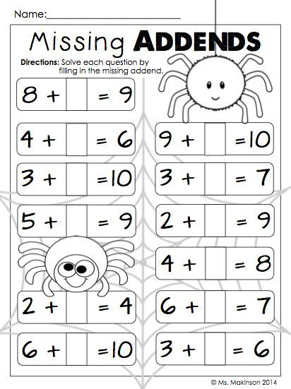 October Printables First Grade Missing Addends First Grade Math Worksheets Math For 1st Graders 1st Grade Math