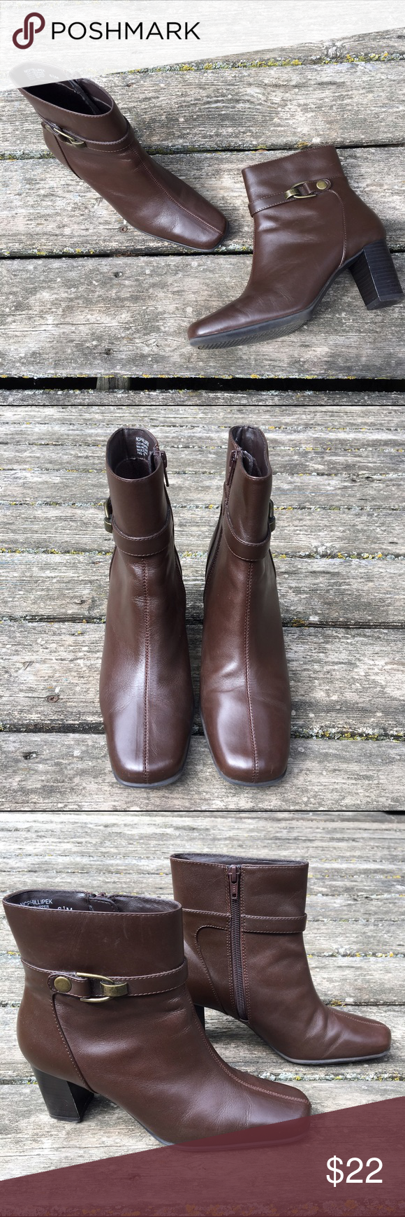 """🎀NEW LISTING🎀 Brown Leather Ankle Boots Brown Leather Ankle Boots with buckle accent by Nine & Co (Nine West). Size 6.5M. In great condition, see fourth photo for signs of wear. 2.75"""" heels. Nine West Shoes Ankle Boots & Booties"""
