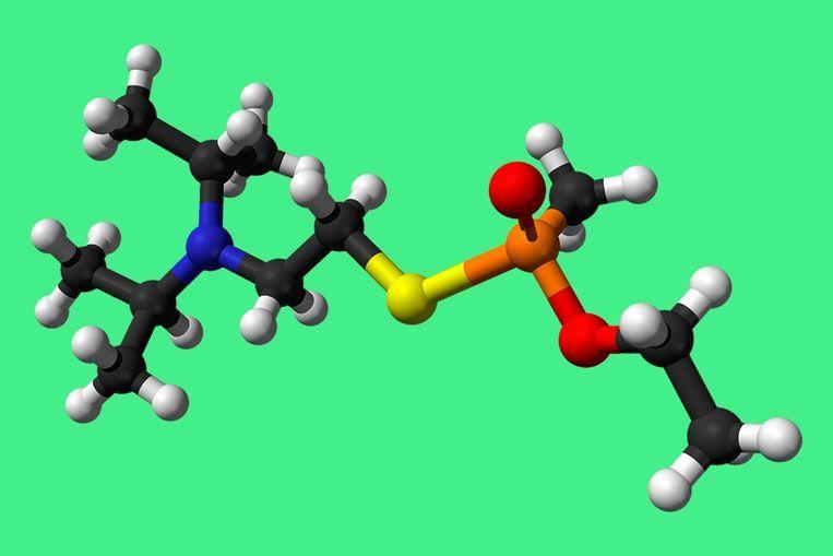 Zo werkt het gif dat Kim Jong-nam fataal werd :De moleculaire structuur van VX.