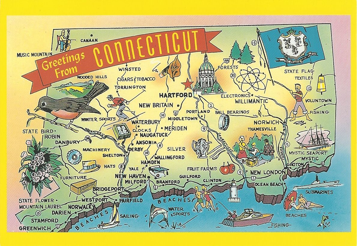 Connecticut Postcard Connecticut In 2019 Tourist Map Map 50 States Of Usa