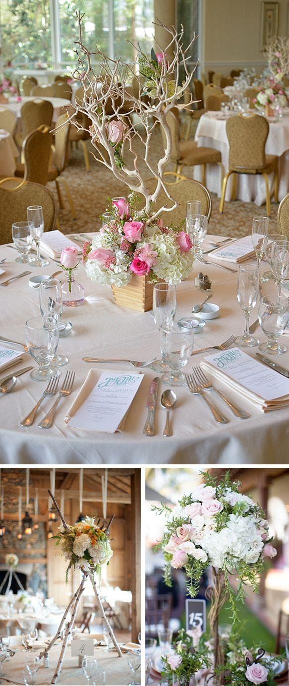 Wedding decorations on tables  Centros de mesa altos para bodas Blog con ideas originales para