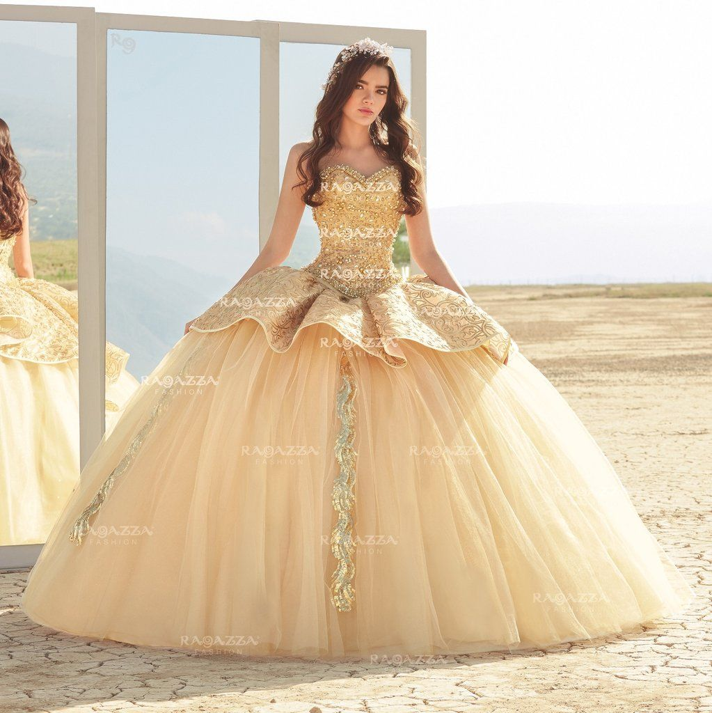 Beaded Strapless Quinceanera Dress By Ragazza Fashion B75