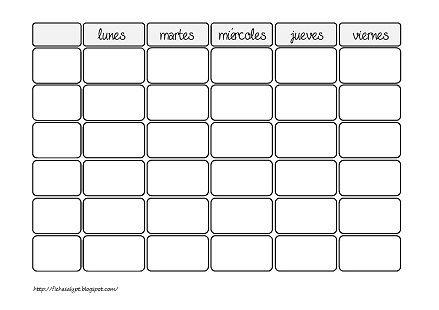 Cositas de AL y PT Horarios PLANTILLAS Pinterest Spanish - new tabla periodica en blanco y negro pdf
