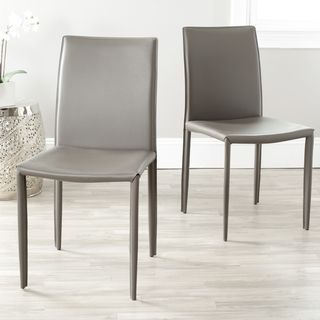 Safavieh Jazzy Bonded Leather Grey Side Chair Set Of 2 Ping The Best Deals On Dining Chairs 179 99 Pretty Good Ratings