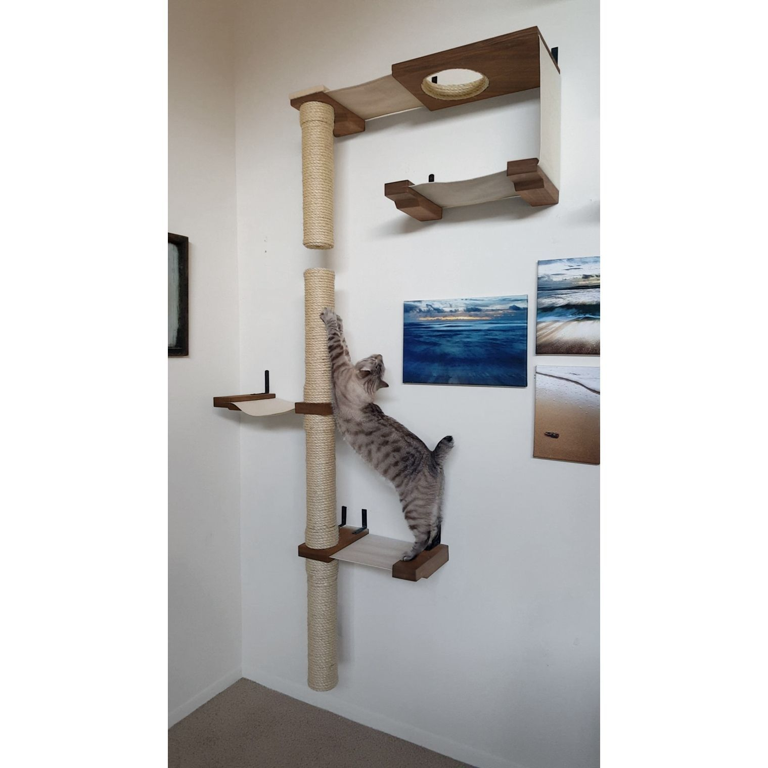 Cat Skyscraper Complex  Handcrafted Sisal Canvas And Cat Tree