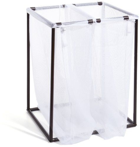 The Bag Stand 2710 Bromesh Steel Framed Bronze Hamper With Removable Mesh Laundry Bags