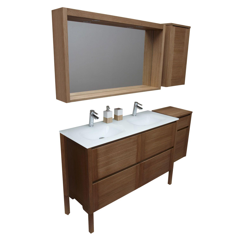 caisson meuble sous vasque fjord ch ne naturel l119xh61. Black Bedroom Furniture Sets. Home Design Ideas