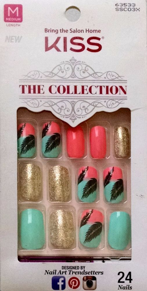 KISS THE COLLECTION Glue-On Nails Feathers Nail Art SSC03X 63533 ...