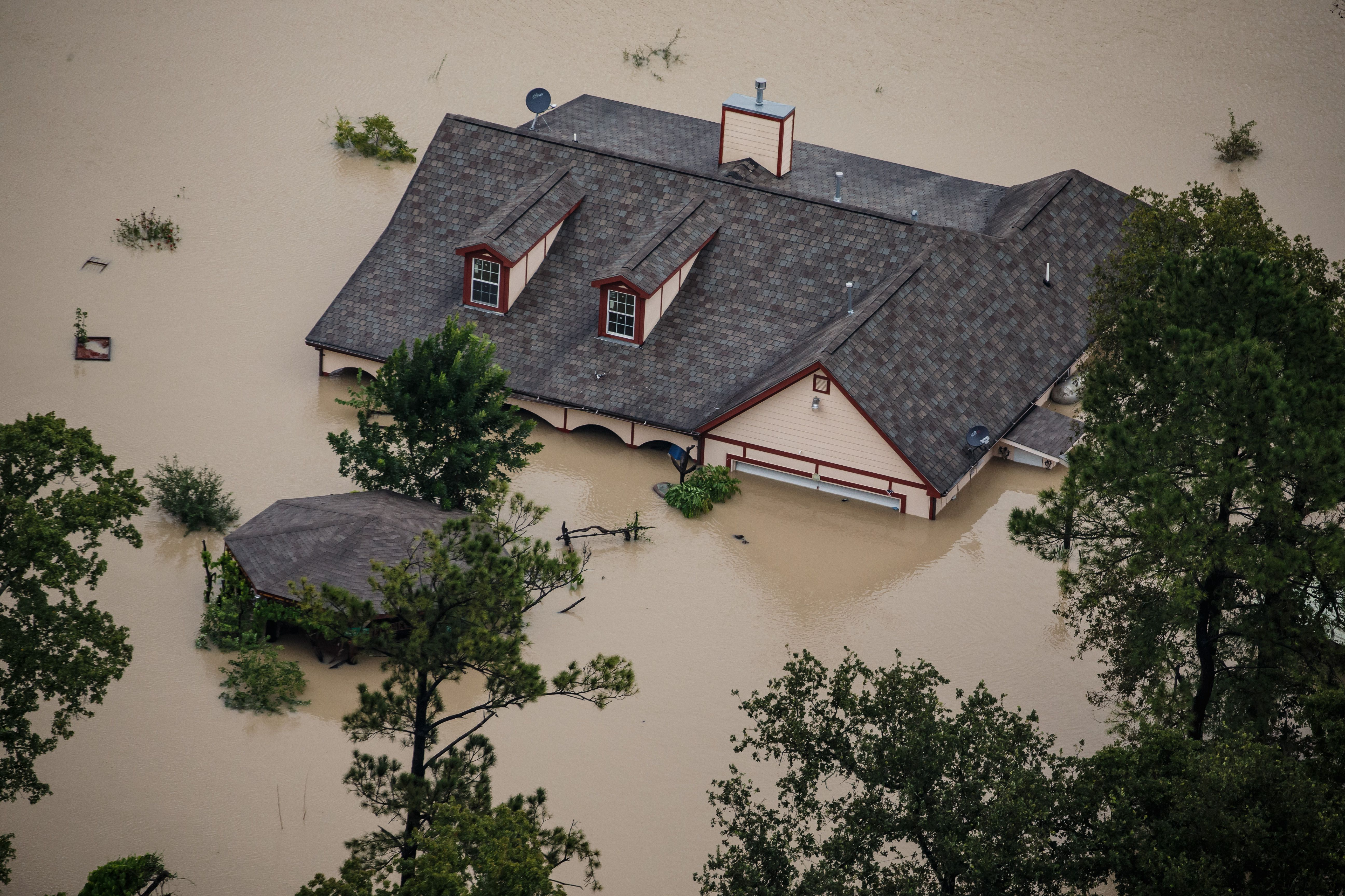 A House Is Completely Submerged In Flood Water Flooded House Flood Risk Flood