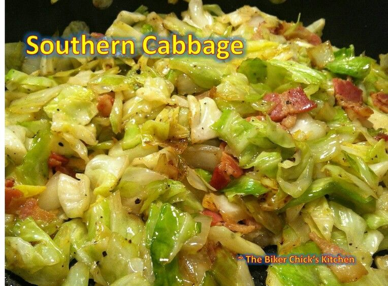 Southern Fried Cabbage Serve 4. 5-6 strips of bacon 1 head cabbage, sliced 1 onion, diced ¼ cup chicken broth, 1 tsp vinegar ½ tsp salt ¼ tsp pepper