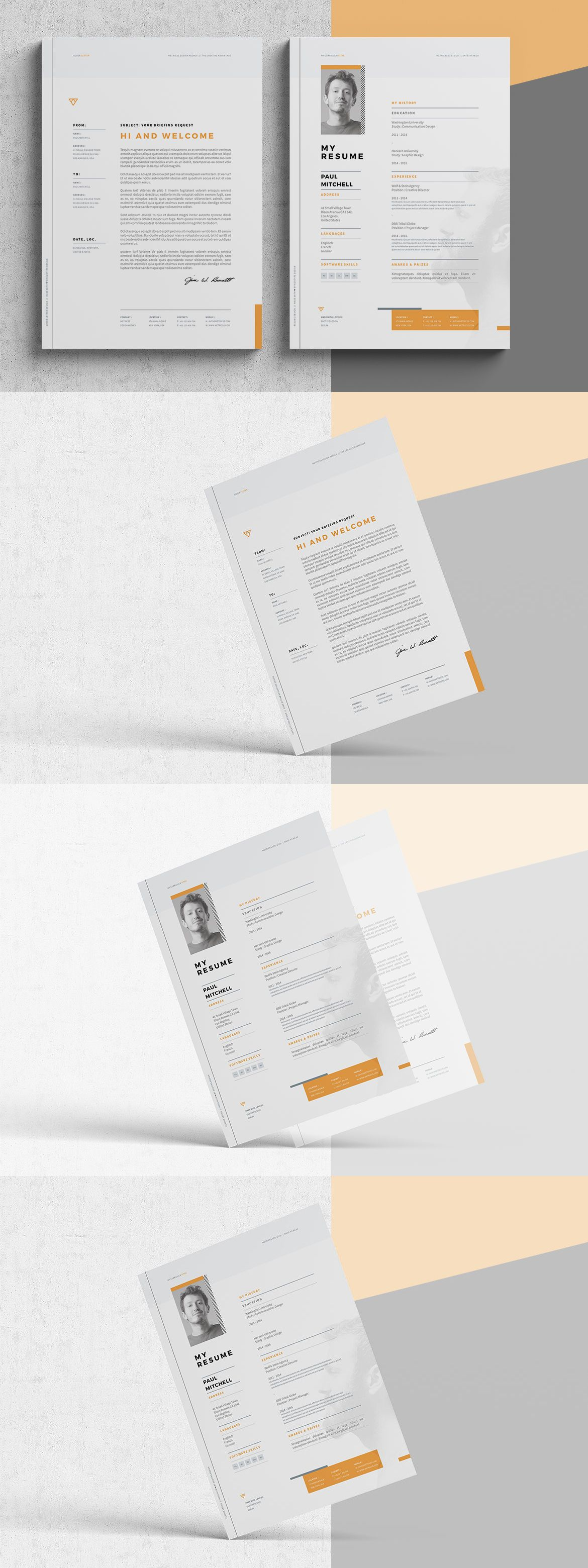 Resume And Cover Letter Template Indesign Indd Editable In