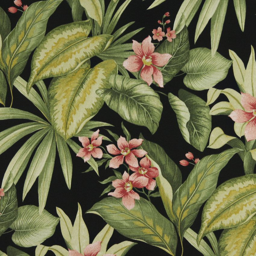 Black Coral Peach Persimmon Grey Silver Green Dark Marine Outdoor Indoor Print Upholstery Fabric K4542 Fiji Tropical Flowers Upholstery Fabric Flowers