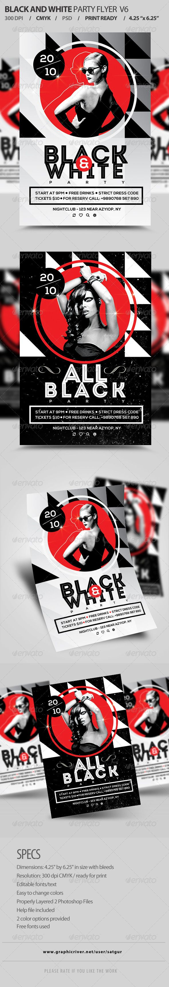 Black And White Party Flyer Template PSD V6   Party flyer, Flyer ...