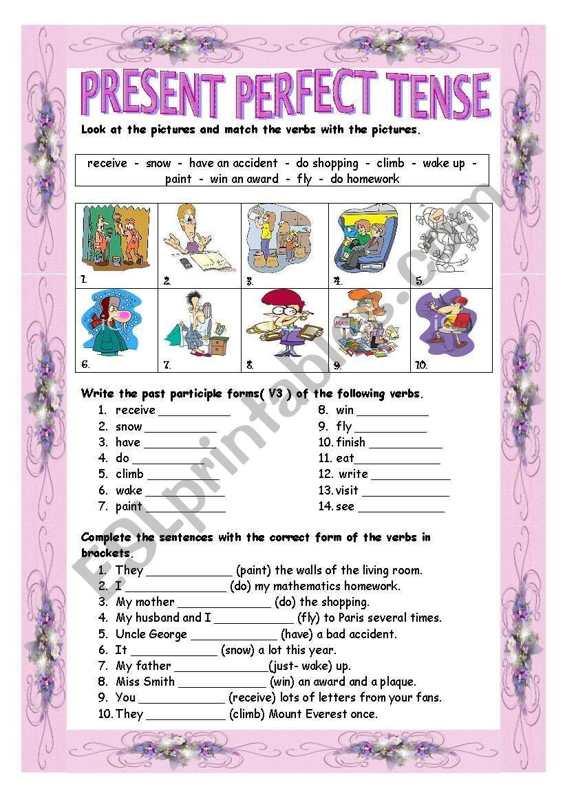 It Is A Useful Worksheet To Practice Present Perfect Tense Positive Negative Question Form I Hope You Present Perfect Present Perfect Negative Perfect Tense