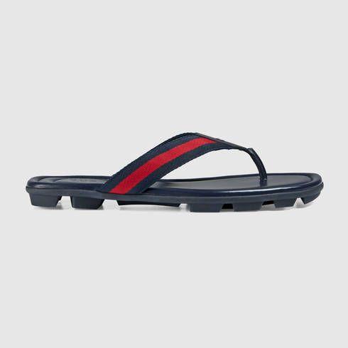 2608e77b8e1e4e GUCCI Web And Leather Thong Sandal.  gucci  shoes  men s sandals Blue  Sandals
