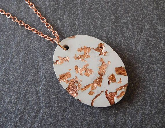 Large pendant rose gold necklace modern jewelry oval