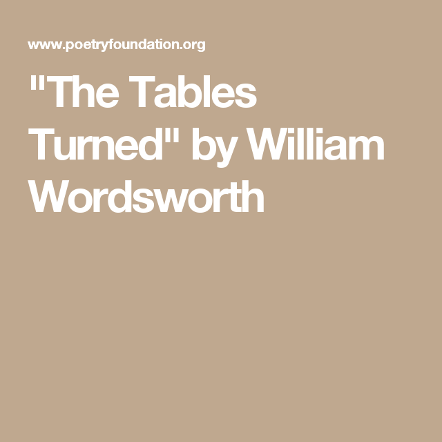 the tables turned william wordsworth