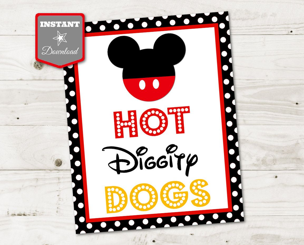 Instant Download Classic Mouse Printable 5x7 And 8x10 Hot Etsy In 2020 Mickey Mouse Birthday Party Mickey Mouse Themed Birthday Party Birthday Party Food