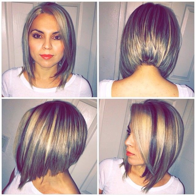 A Line Haircut Color And Ash Blonde Highlights Created By Glow Hair Salon Gaby More Styles