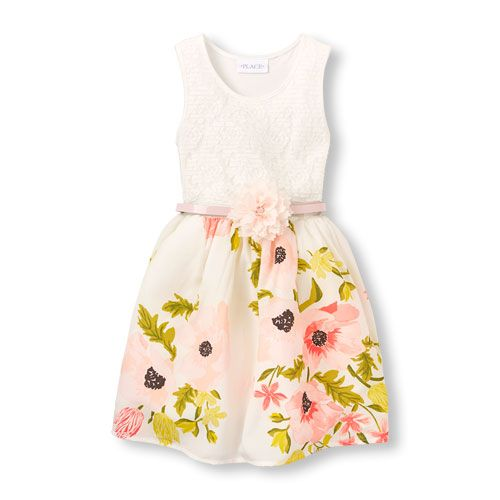 a80cf4358a Girls Sleeveless Crochet Lace To Floral Belted Woven Dress