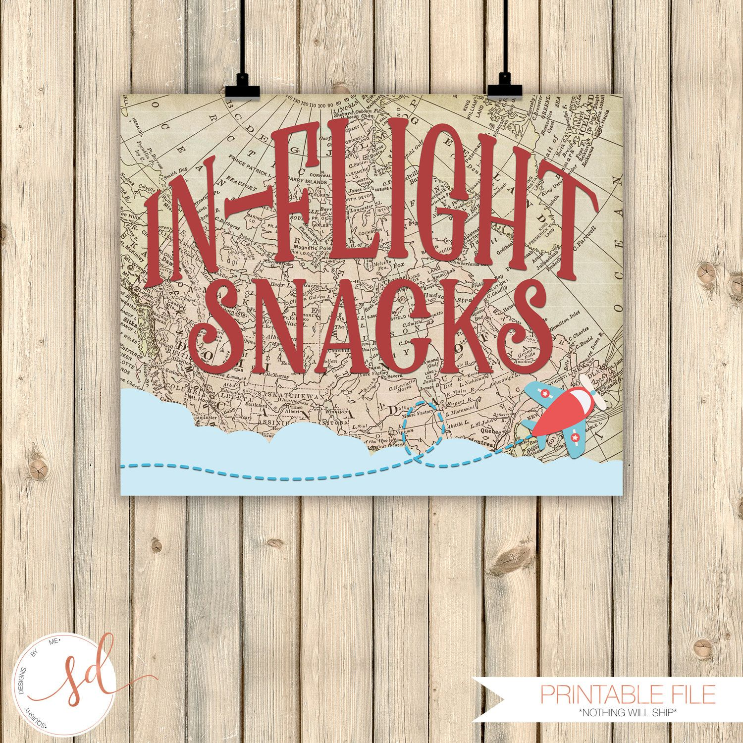 Vintage Travel Airplanes Birthday Party Sign, In-Flight