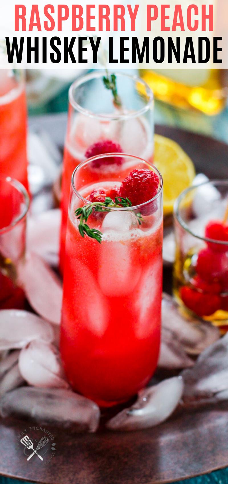 Photo of Raspberry Peach Whiskey Lemonade Cocktail