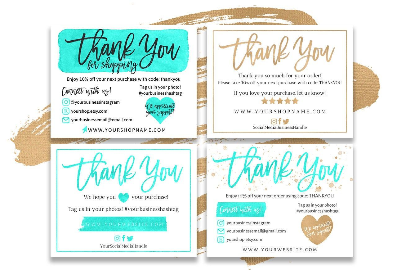 Four 4 Diy Printable Thank You For Shopping Note For Small