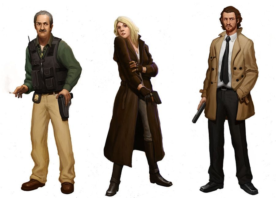 some character concepts for the detective illustration i did sort