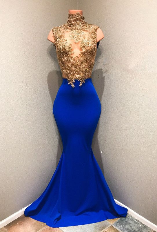 Royal blue mermaid gold appliques 2018 prom dress from 27dress.com ...