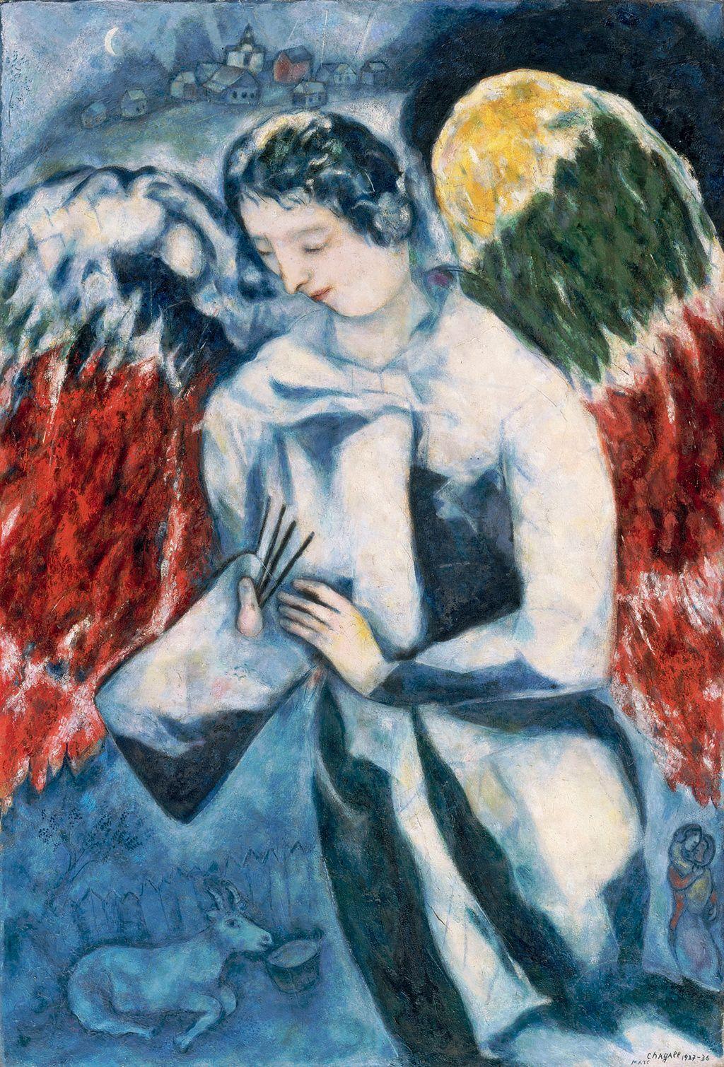 Marc chagall l 39 ange la palette 1927 36 huile sur for Chagall tableau