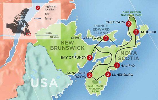 Charming Inns of Nova Scotia and PEI Map Dream Trip to Canada