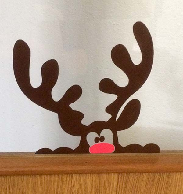 sticker de rudolf un renne du p re no l appos sur une. Black Bedroom Furniture Sets. Home Design Ideas