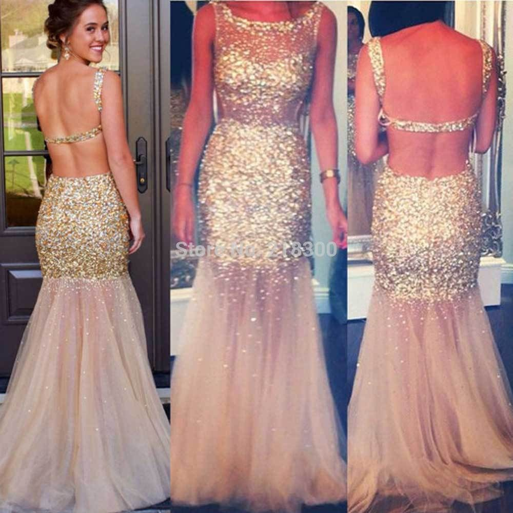 Click to buy ucuc champagne backless prom dresses sparkly beaded prom